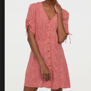 H&M Red Floral Creped Button Down Tea Dress